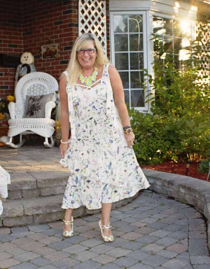 H&M Floral Crepe Dress, Lemon Pumps from Shoe Dazzle and a great 7 Charming Sisters Necklace