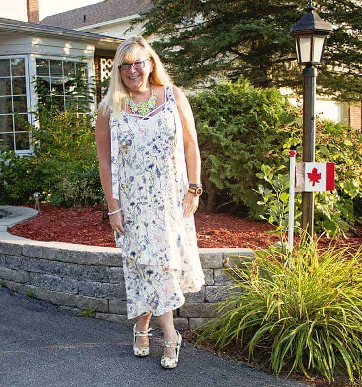 H&M Floral Crepe Dress, Lemon Pumps from Shoe Dazzle and a great 7 Charming Sisters Necklace 6