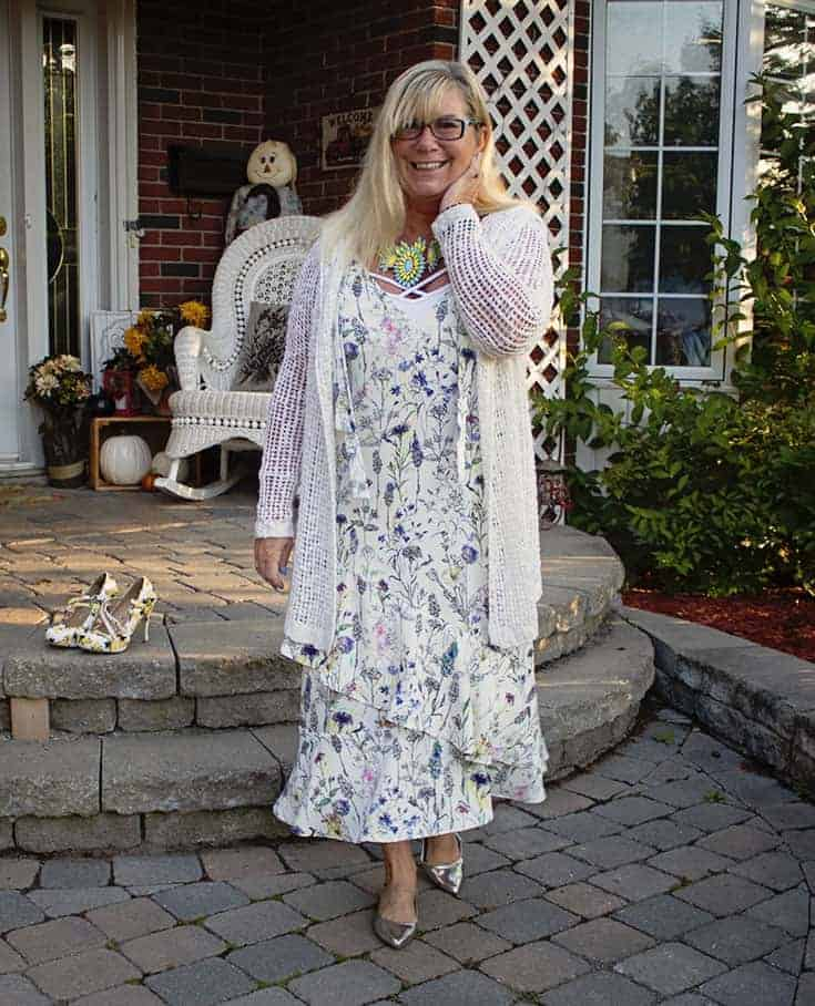 H&M Floral Crepe Dress, shiny silver flats and a great 7 Charming Sisters Necklace
