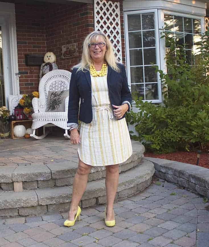 Old Navy Linen Shift, signature soles and a navy blazer with a great necklace