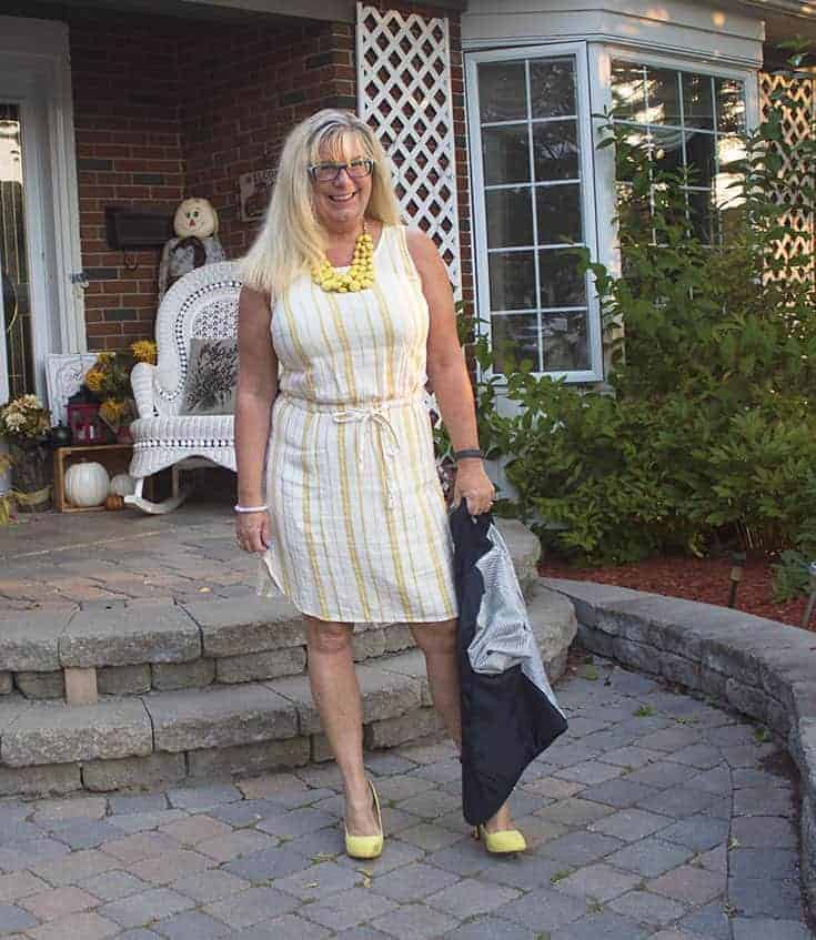 Old Navy Linen Shift, and yellow signature soles from Shoe Dazzle