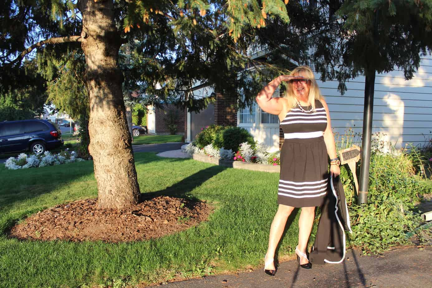 Shoe Dazzle Black and white heels with J Crew Dress with pockets 3