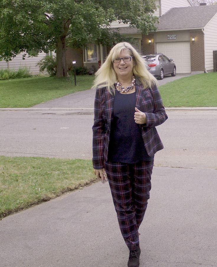 Target Plaid suit with Black Tom Wedges and a 7 Charming Sisters pearl necklace