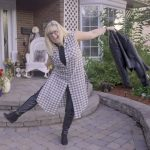 fun plaid duster and leather leggings