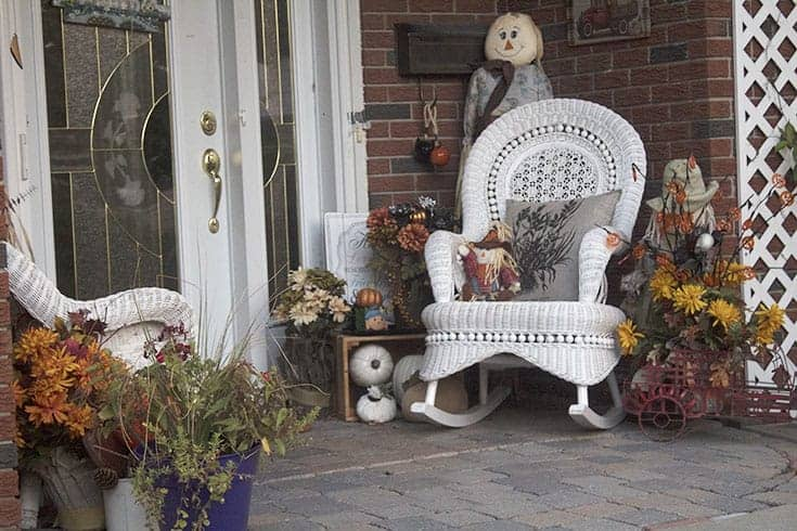 Fall Porch with whicker