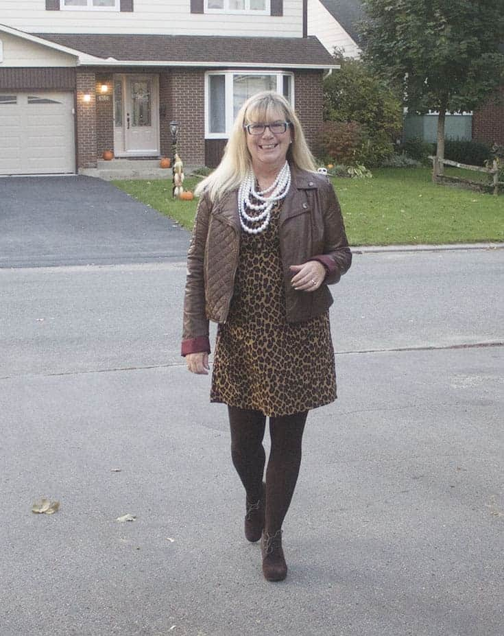 leopard dress and pearls with a bit of leather and booties from Skechers