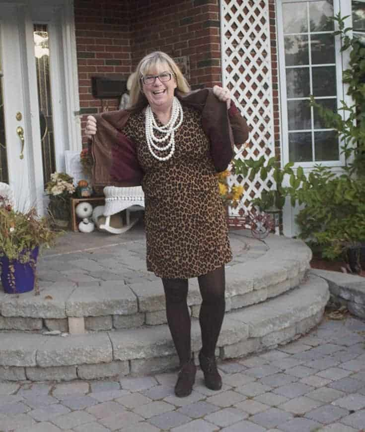 Leopard Dress, Pearls and Skechers brown wedge boot