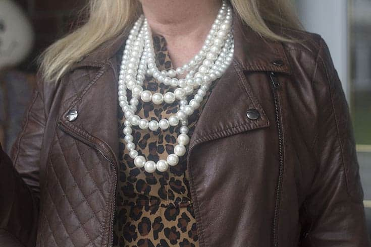 leopard and pearls with a bit of leather