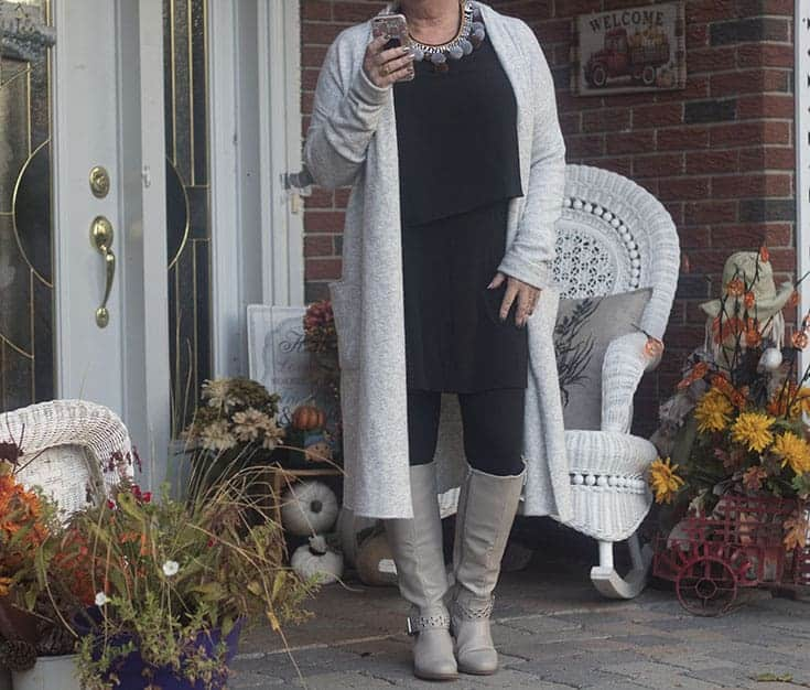LNBF Tunic and Bamboo leggings with a Heather grey sweater and shoe dazzle boots