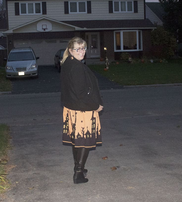Halloween skirt by Gamiss, Banana republic moto and fun leather leggings with scarecrow earrings