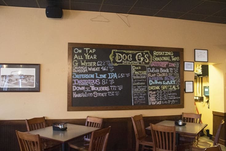 the selection at Doc G's Brewing Company in Dubois