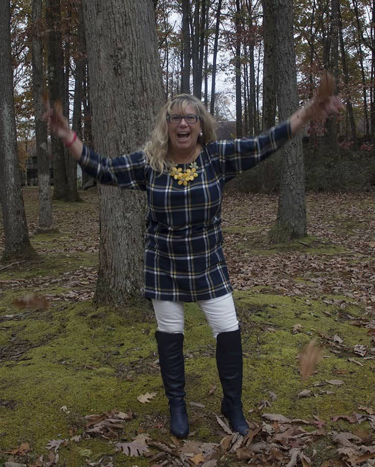 Old Navy Tunic and Navy Shoe dazzle OTK boots