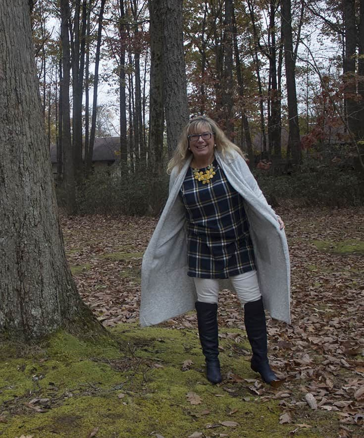 Gentle Fawn Cardigan over an Old Navy Tunic and Navy Shoe dazzle OTK boots