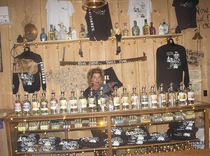 Mrs B serving ar t Blackbird Distillery Old Fashion Moonshine