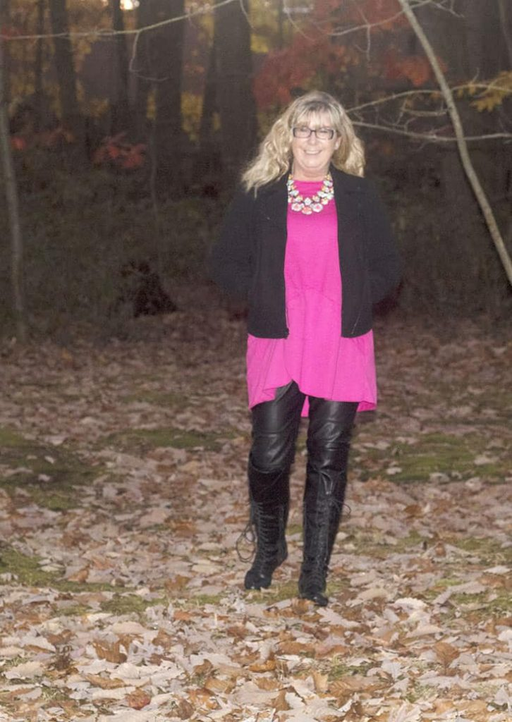 Banana Republic Wool Moto  iwith H&M Leather leggings, Shoe Dazzle OTK Boots and a fuschia Tunic from New Chic, paired with 7 Charming Sisters Byte Me Necklace