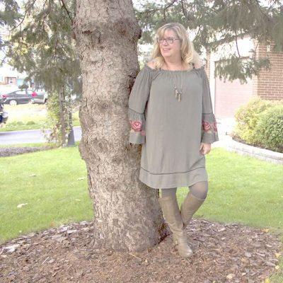 Target Green Cold-Shoulder Embroidered Dress