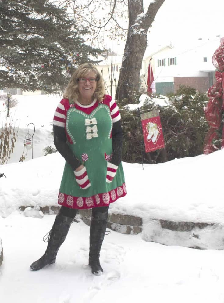 Ugly Christmas Sweater Dress and OTK Boots from Shoe Dazzle