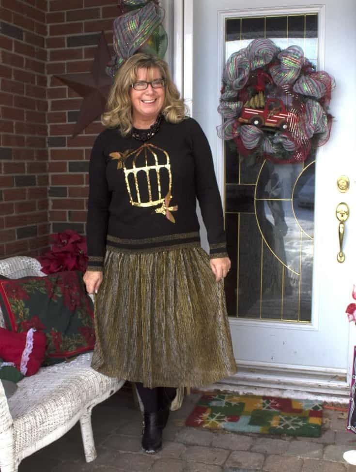 Sequins and Gold for New Years Eve Outfits. When Target has the perfect gold skirt to pair with a Sequin sweater