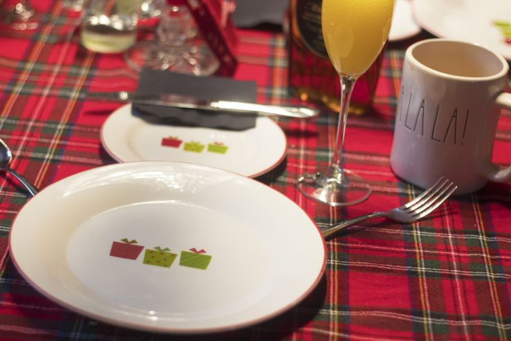 snowman table setting for the holidays.