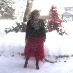 red tulle and mistletoe sweater