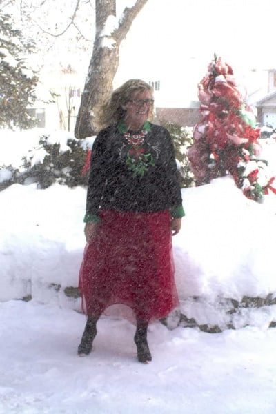 Christmas Day In a Red Tulle Skirt