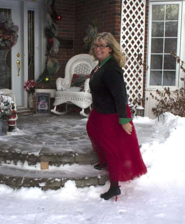red tulle and a christmas sweater