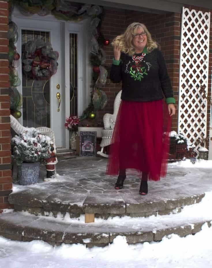 christmas skirt in red tulle