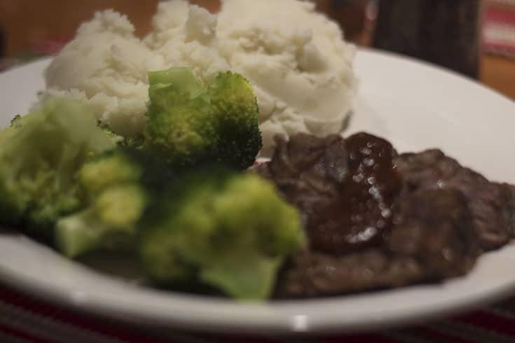 pork roast with broccoli on a plate