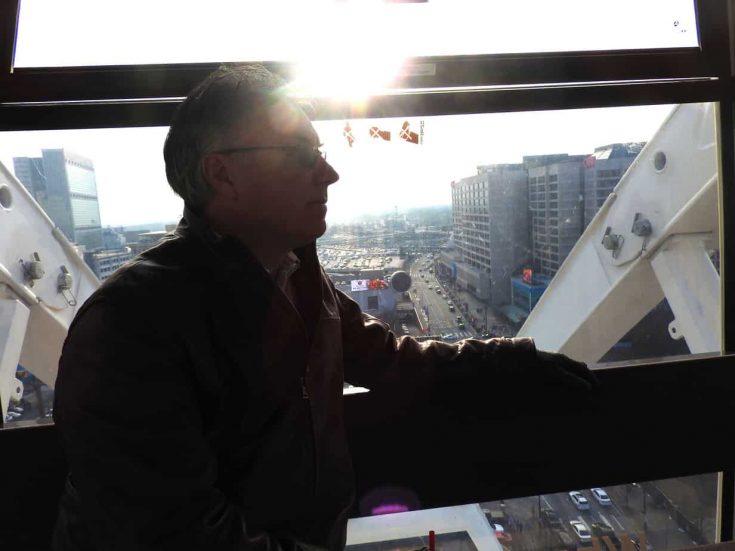 Kent in the gondola in Atlanta