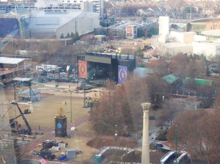 view of the stage in Centennial Olympic Park from the SkyView Ferris Wheel in Atlanta