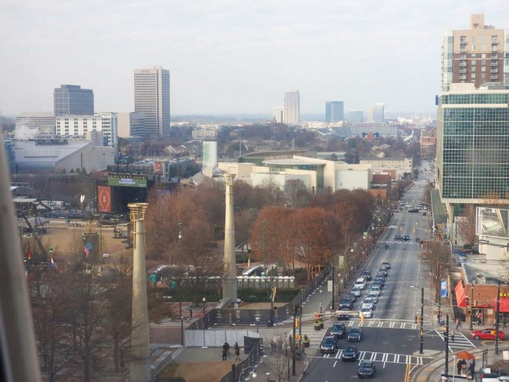 view of the streets of Atlanta from the SkyView Ferris Wheel