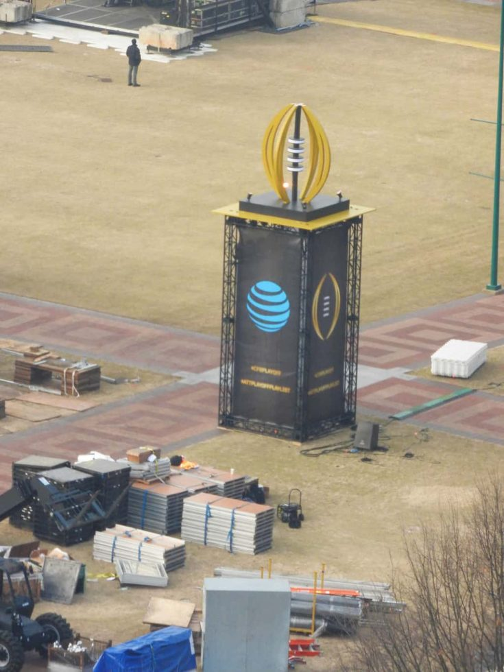 view of the stage in Centennial Olympic Park from the SkyView Ferris Wheel in Atlanta as they get ready for the National Championship game