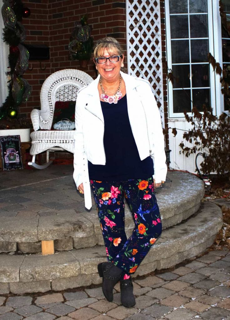 winter florals from Old Navy and a baby blue moto jacket