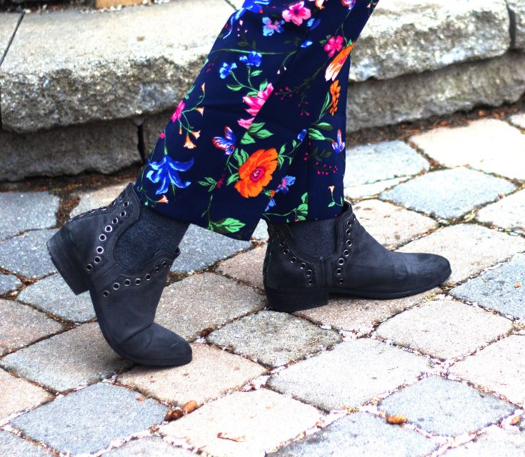 winter florals from Old Navy and a grey boot