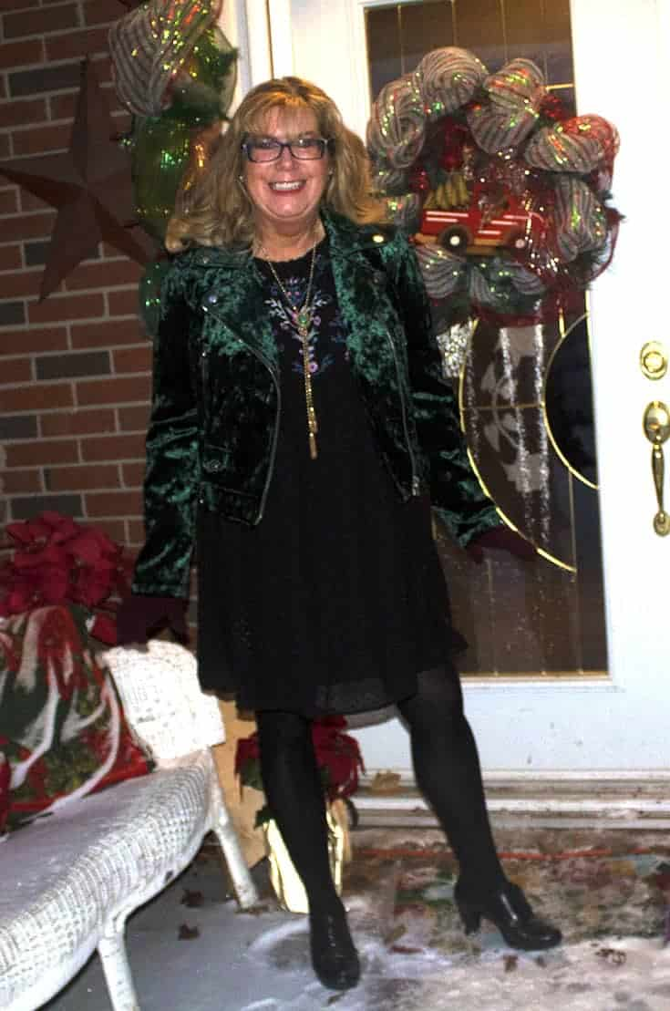 Green Velvet Moto from Forever 21 and an embroidered dress from Target