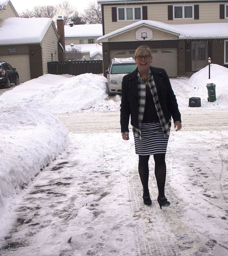 strolling in Plaid Flannel shirt from Target paired with a fun striped skirt from Forever 21