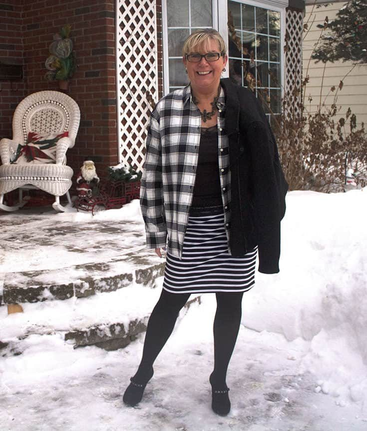 When the weather warms up we wear Plaid Flannel shirt from Target paired with a fun striped skirt from Forever 21