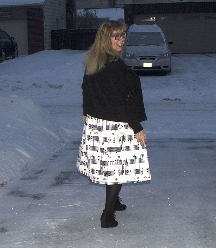 Wearing the music note skirt I found through a facebook ad. A discussion on ads and affiliates and how effective they are
