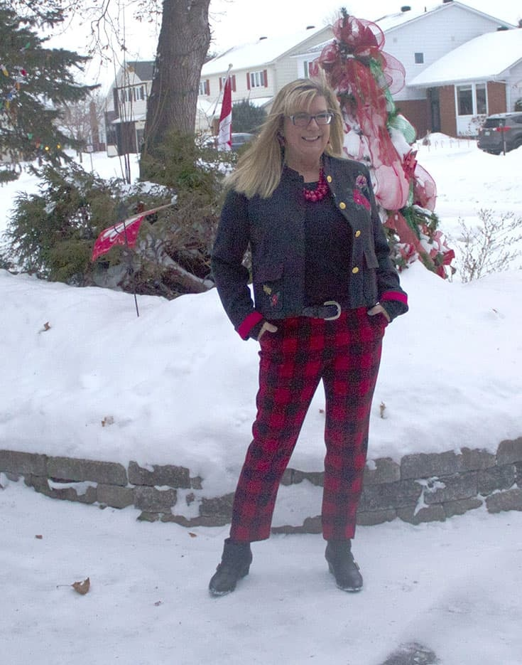 snow bound in Red Plaid Harper Pants from Old Navy paired with a black tee and a fun embroidered blazer from Target.