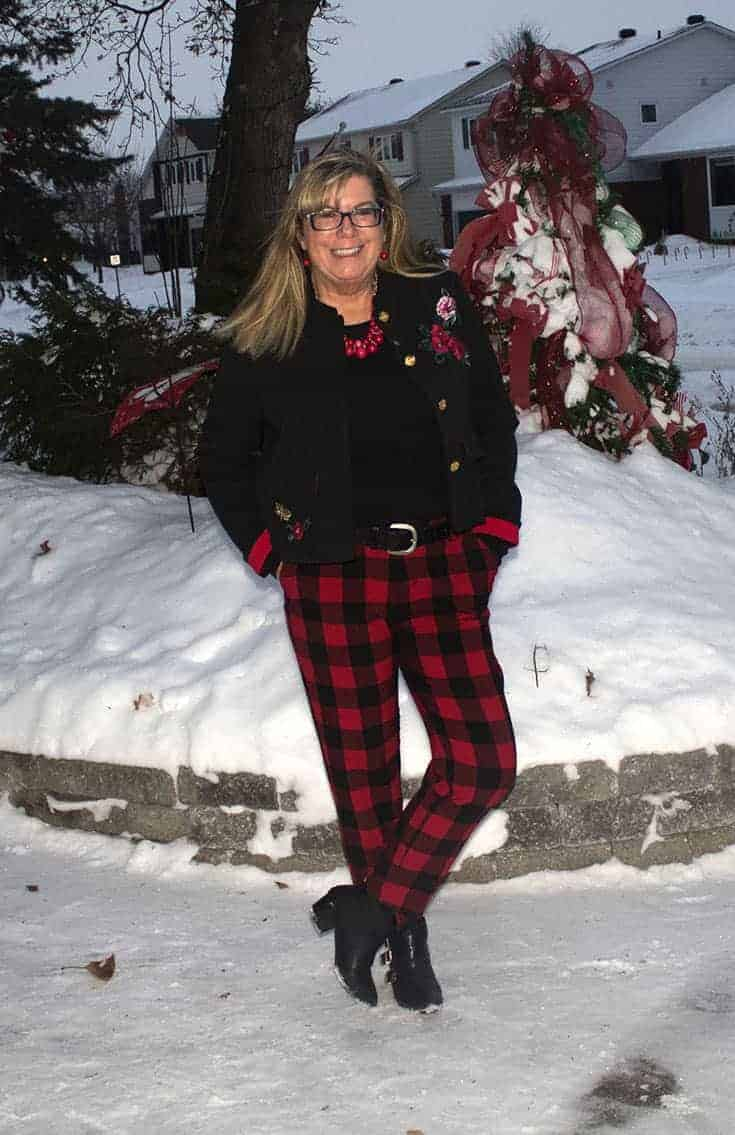 Red Plaid Harper Pants from Old Navy paired with a black tee and a fun embroidered blazer from Target.