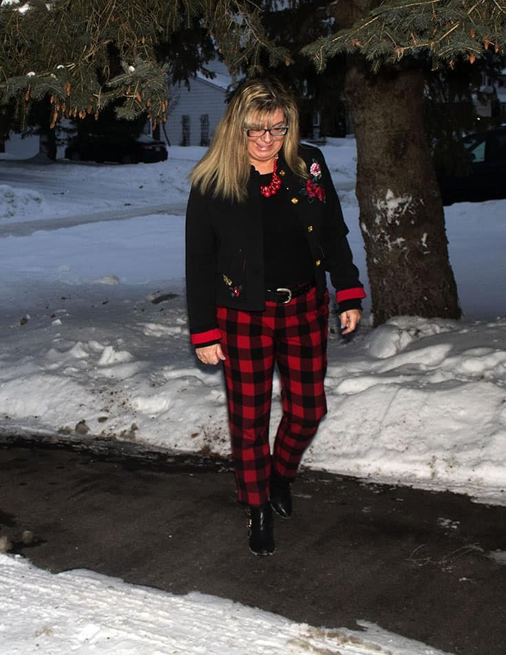 walking in Red Plaid Harper Pants from Old Navy paired with a black tee and a fun embroidered blazer from Target.