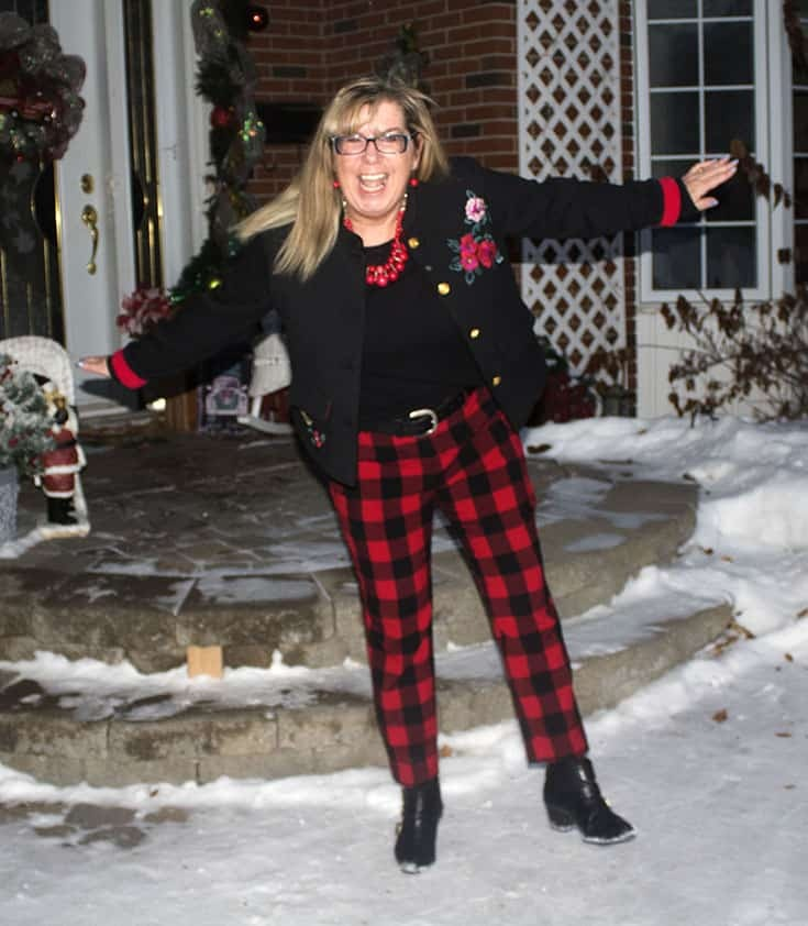 feeling the joy in Red Plaid Harper Pants from Old Navy paired with a black tee and a fun embroidered blazer from Target.