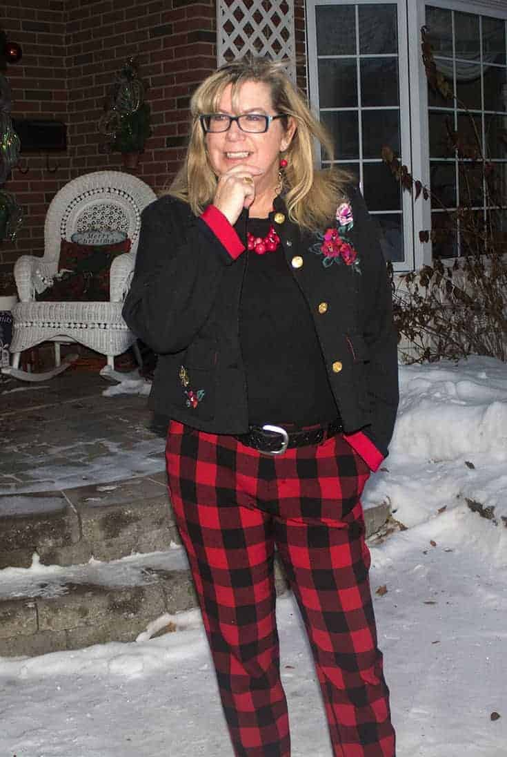 Red Plaid Harper Pants from Old Navy paired with a fun embroidered blazer from Target.