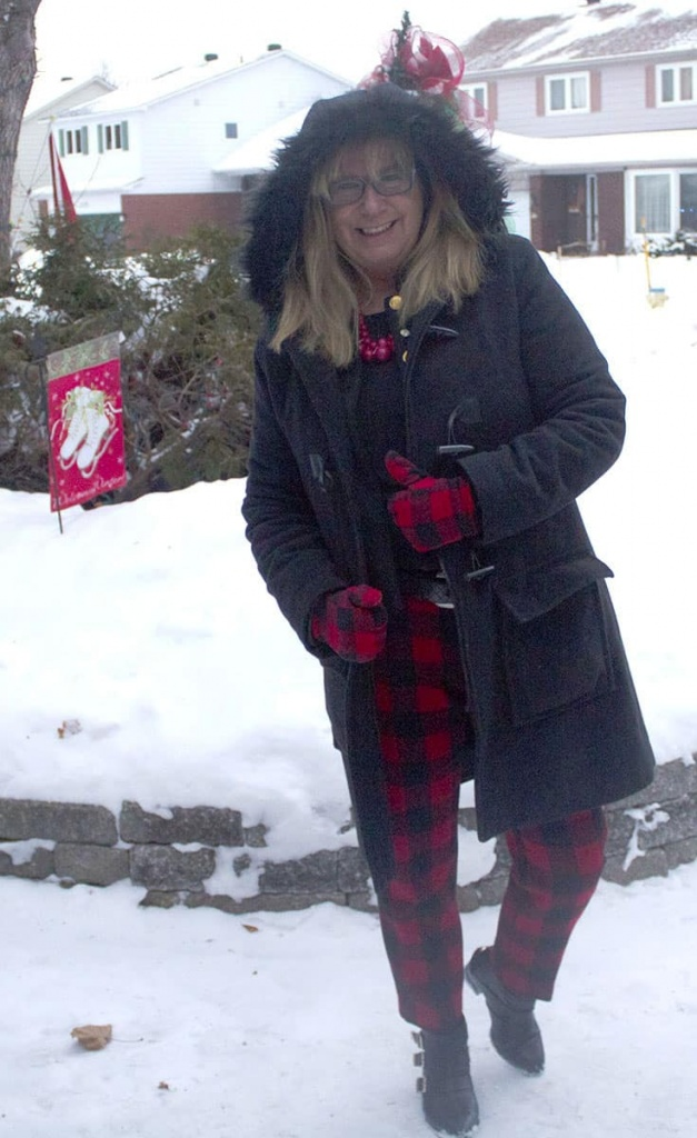 wool cashmere blend parka with red plaid gloves