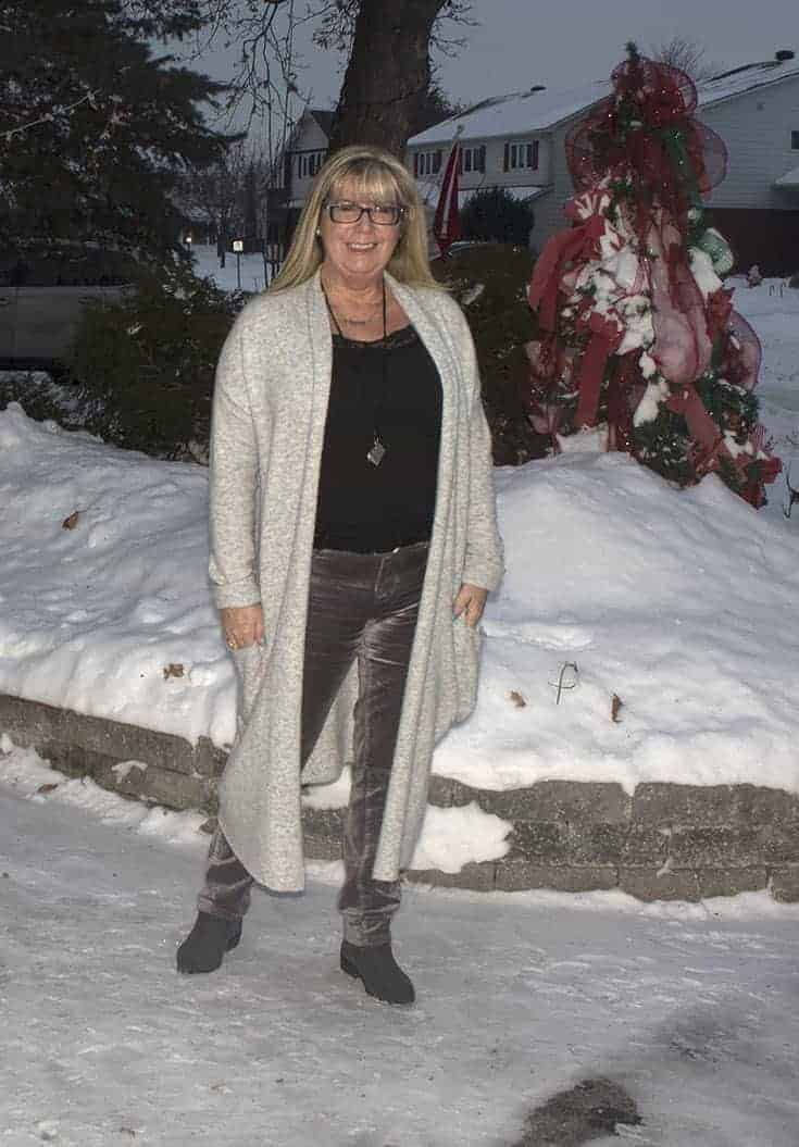 Gentle Fawn Soft Heather Cardigan and Grey Velvet Jeans from Joe Fresh