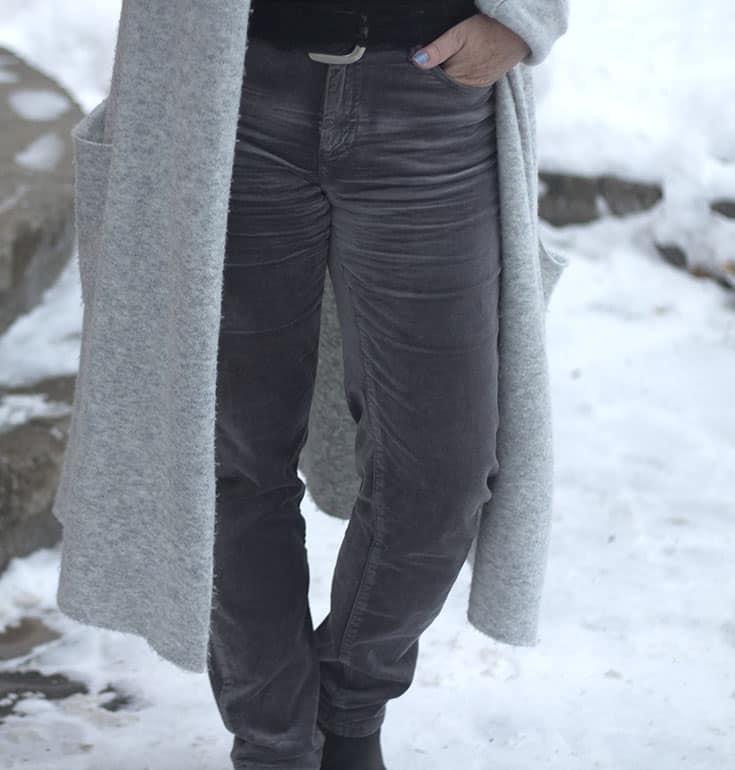 Grey velvet jeans from Joe Fresh