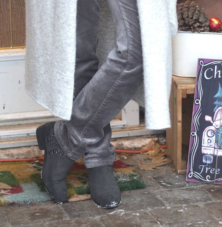 grey boots with velvet jeans