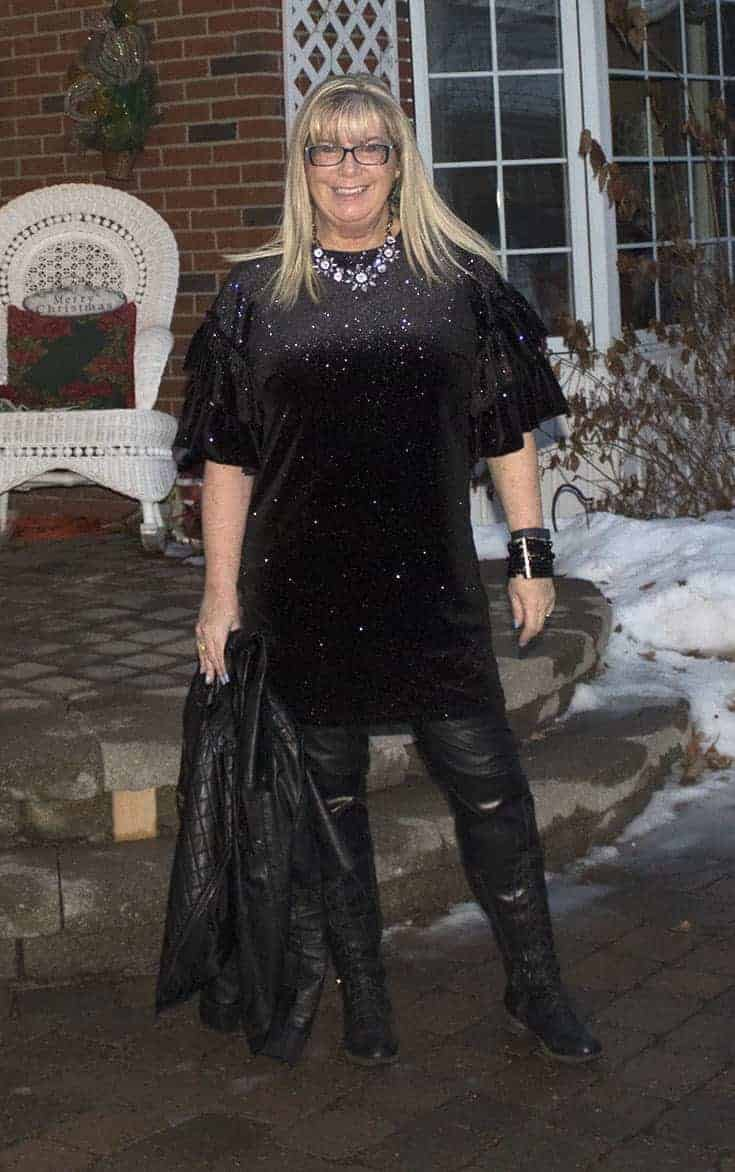 H&M Glittery Dress, leather leggings, OTK tie up boots and a cool necklace