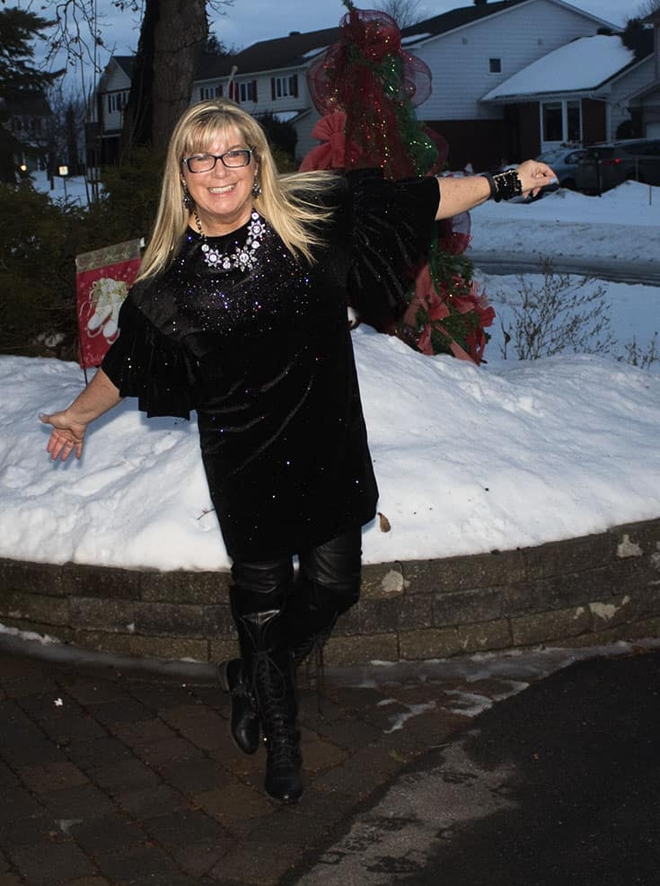 H&M Glittery Dress, leather leggings, OTK tie up boots