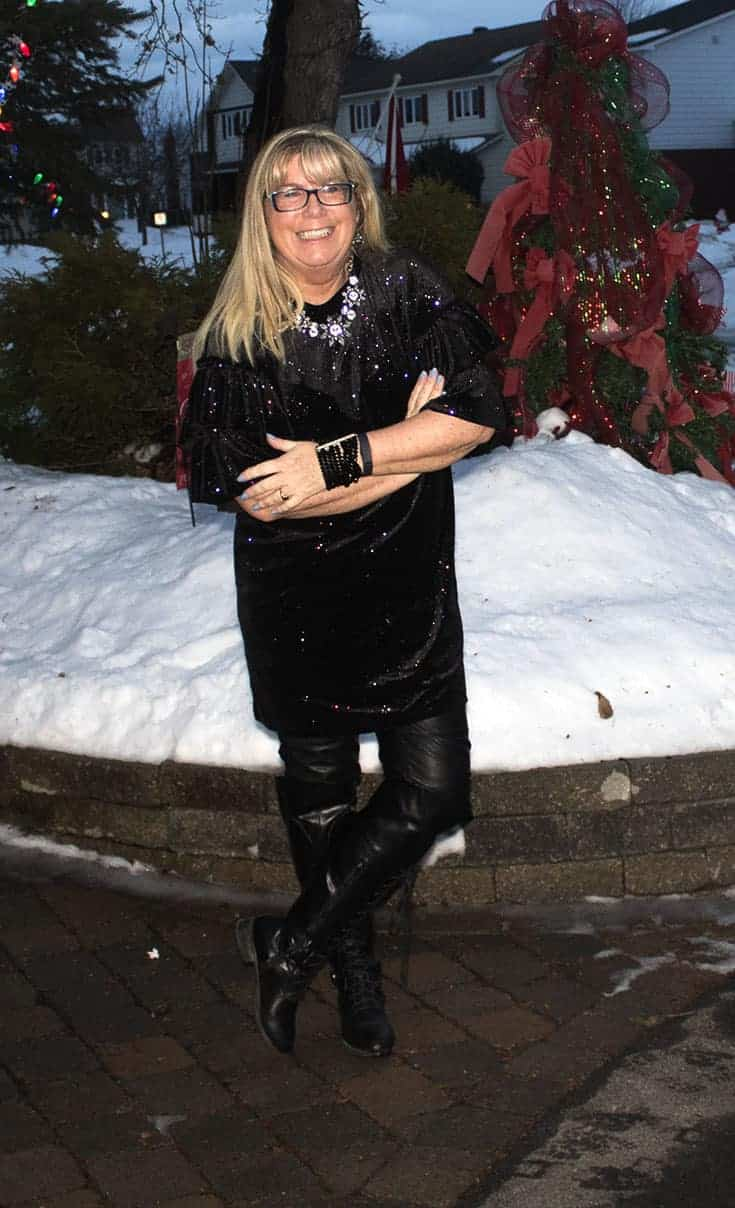 H&M Glittery Dress, leather leggings, OTK tie up boots and a crystal bracelet